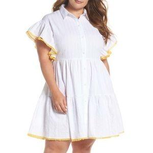 Lost Ink white flowy button down dress size 20